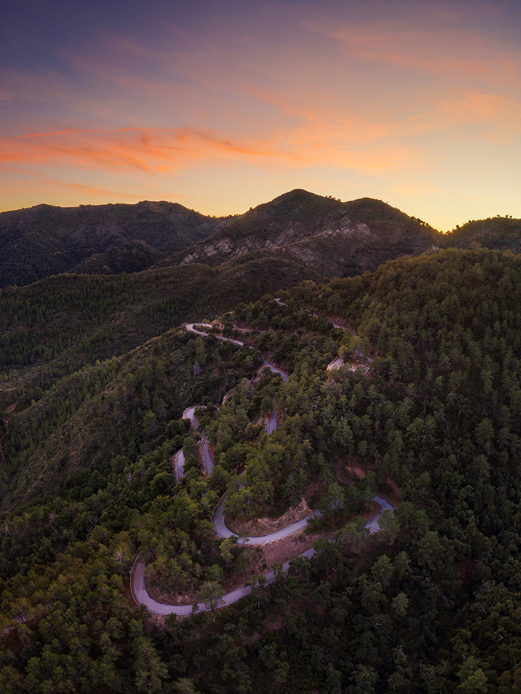 Thumbnail for Aerial category with Panoramic sunset view with road from above