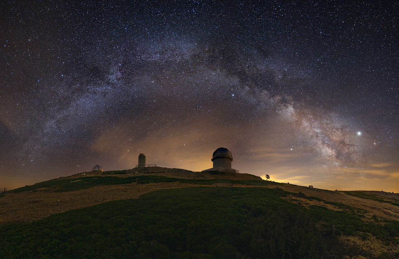 Panoramic Milky Way over the observatory
