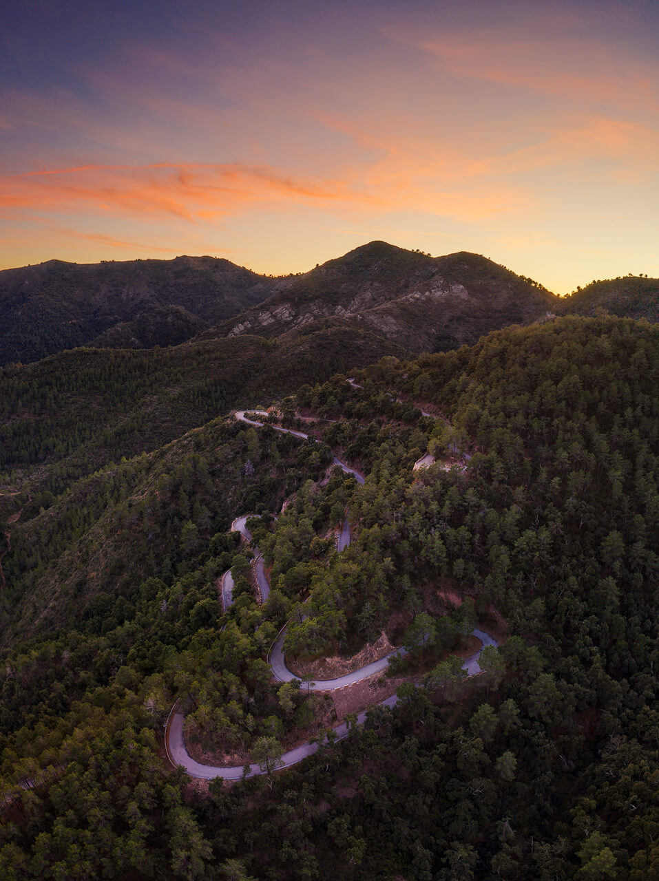 Panoramic Sunset Road At Mountain - DJI Mavic2 Pro