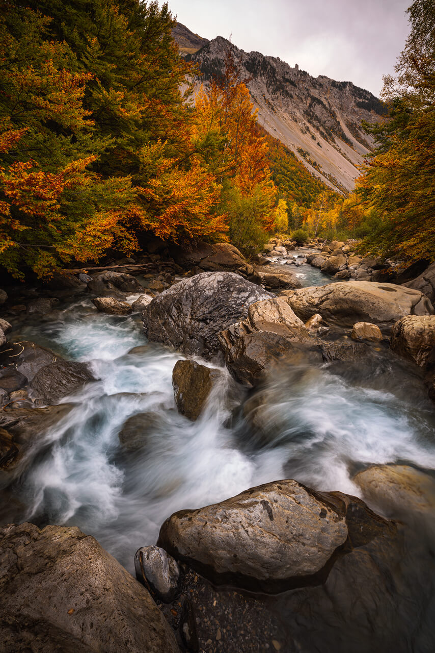 River going down waterfall of the Cinca National Park of Ordesa and Monte Perdido